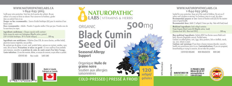BLACK CUMIN SEED OIL - 120 SOFTGELS + BONUS ITEM
