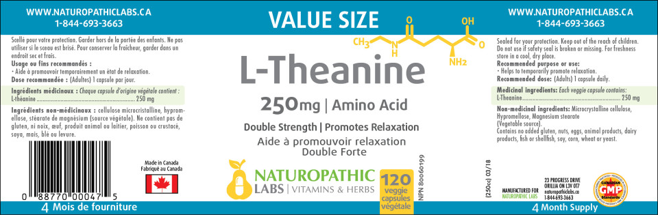 L-THEANINE 250MG – 120 VCAPS + 60 VCAPS FREE