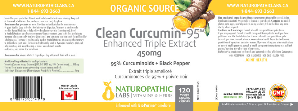 CLEAN CURCUMIN-95 (ENHANCED TRIPLE EXTRACT) 450MG -  120 VCAPS + BONUS ITEM