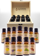 TOP 12 ESSENTIAL OILS: CLOVE - EUCALYPTUS - FRANKINCENSE - LAVENDER - LEMON - LEMONGRASS - ORANGE - PATCHOULI - PEPPERMINT - PINE - TEA TREE - TURMERIC - 30ML + FREE WOODEN STORAGE BOX